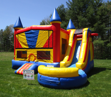 w/ 2 basketball hoops, big bouncing area, climbing area and slide on outside!